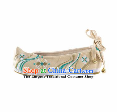 Chinese Ancient Princess Shoes Hanfu Shoes Handmade Beige Embroidered Shoes for Women