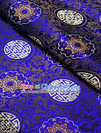 Traditional Chinese Pattern Design Royalblue Brocade Classical Satin Drapery Asian Tang Suit Silk Fabric Material