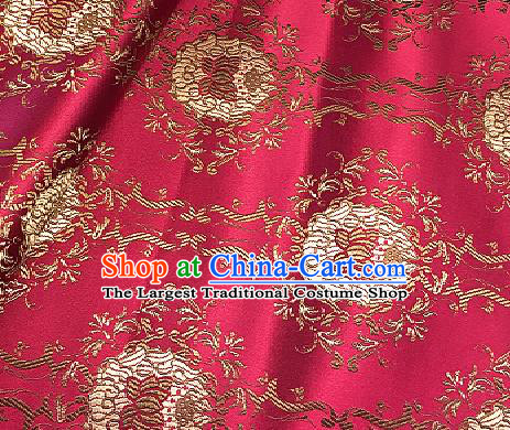 Traditional Chinese Lotus Pattern Design Rosy Brocade Classical Satin Drapery Asian Tang Suit Silk Fabric Material