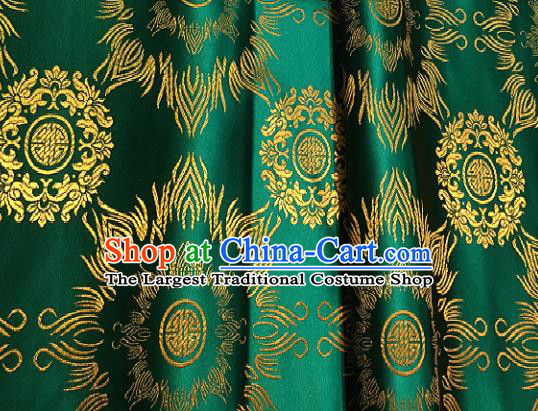 Traditional Chinese Classical Pattern Design Green Brocade Satin Drapery Asian Tang Suit Silk Fabric Material
