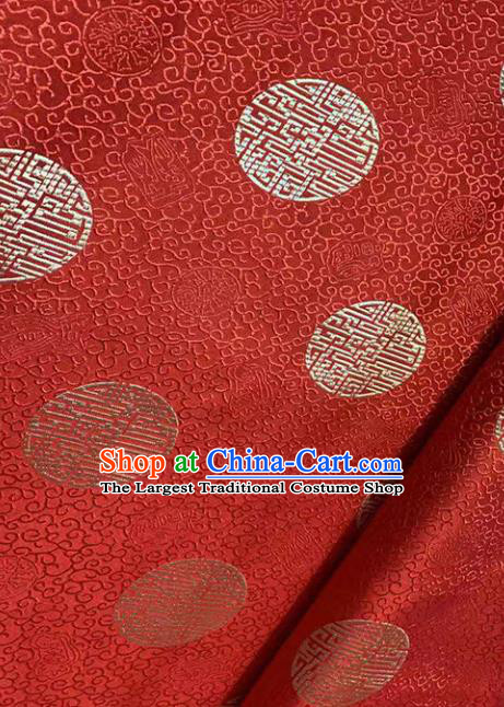 Traditional Chinese Classical Pattern Design Wedding Brocade Red Satin Drapery Asian Tang Suit Silk Fabric Material