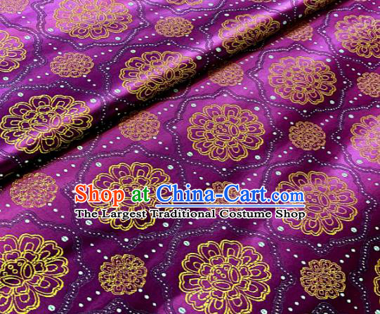 Traditional Chinese Classical Pattern Design Purple Brocade Satin Drapery Asian Tang Suit Silk Fabric Material