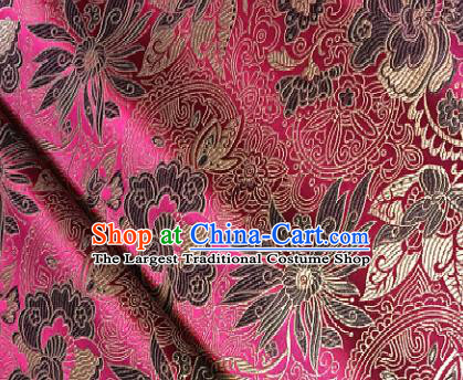 Rosy Brocade Traditional Chinese Classical Pattern Design Satin Drapery Asian Tang Suit Silk Fabric Material