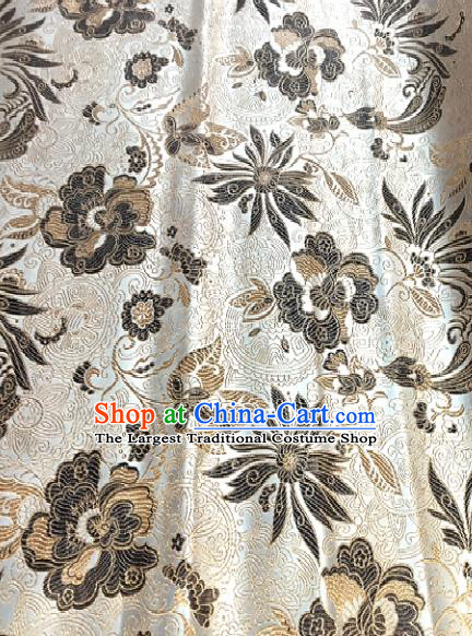 White Brocade Traditional Chinese Classical Pattern Design Satin Drapery Asian Tang Suit Silk Fabric Material