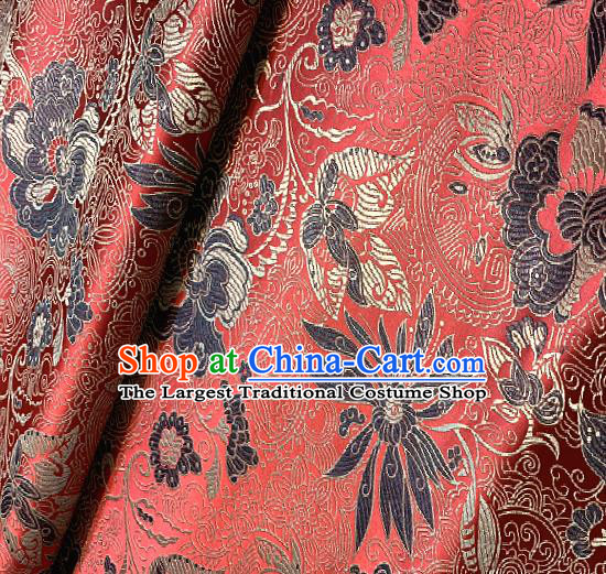 Red Brocade Traditional Chinese Classical Pattern Design Satin Drapery Asian Tang Suit Silk Fabric Material