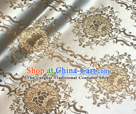 Traditional Chinese Light Golden Brocade Classical Royal Lotus Pattern Design Satin Drapery Asian Tang Suit Silk Fabric Material