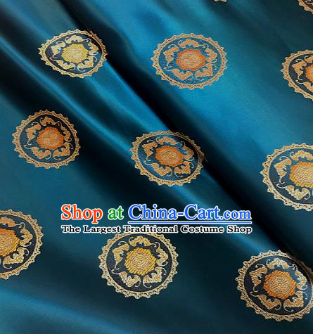 Traditional Chinese Tang Suit Fabric Peacock Blue Brocade Classical Pattern Design Satin Drapery Asian Silk Material
