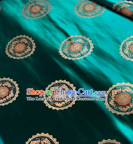 Traditional Chinese Tang Suit Fabric Green Brocade Classical Pattern Design Satin Drapery Asian Silk Material