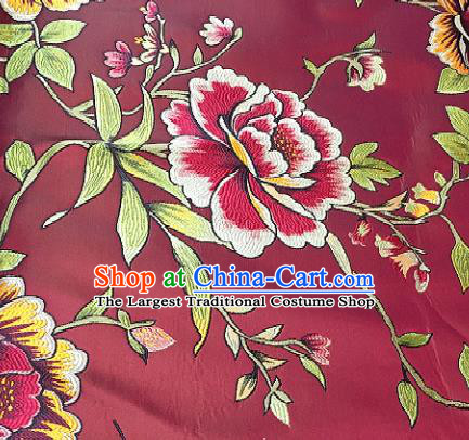 Traditional Chinese Classical Peony Pattern Design Wedding Brocade Wine Red Satin Drapery Asian Tang Suit Silk Fabric Material