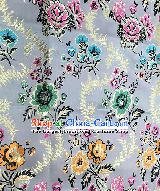 Traditional Chinese Royal Peony Pattern Design Grey Brocade Classical Satin Drapery Asian Tang Suit Silk Fabric Material