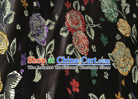 Traditional Chinese Royal Peony Pattern Design Black Brocade Classical Satin Drapery Asian Tang Suit Silk Fabric Material
