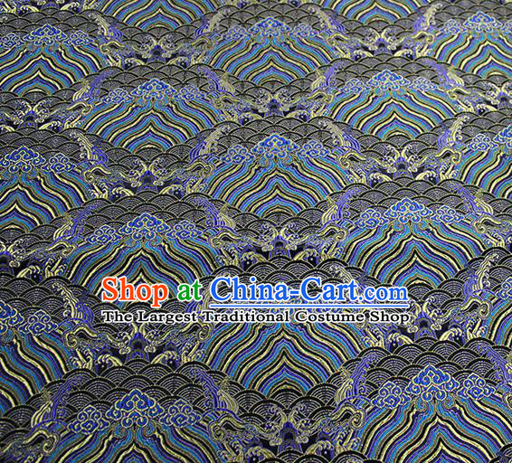 Traditional Chinese Classical Sea Waves Pattern Design Fabric Deep Grey Brocade Tang Suit Satin Drapery Asian Silk Material