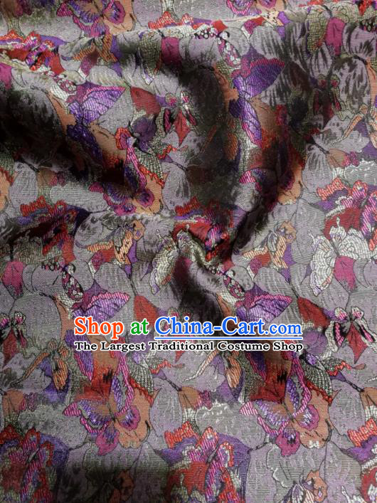 Asian Chinese Classical Purple Butterfly Pattern Design Brocade Fabric Traditional Tang Suit Satin Drapery Silk Material