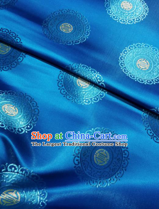 Asian Chinese Classical Auspicious Pattern Design Blue Brocade Fabric Traditional Tang Suit Satin Drapery Silk Material