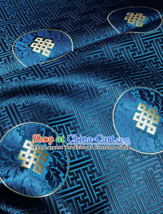 Asian Chinese Classical Lucky Pattern Design Blue Brocade Fabric Traditional Tang Suit Satin Drapery Silk Material