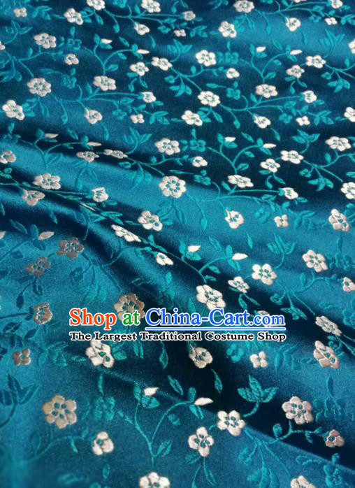 Asian Chinese Classical Flowers Pattern Design Peacock Blue Brocade Fabric Traditional Tang Suit Satin Drapery Silk Material
