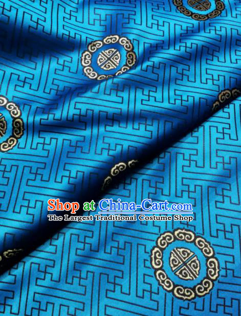 Asian Chinese Classical Pattern Design Blue Brocade Fabric Traditional Tang Suit Satin Drapery Silk Material