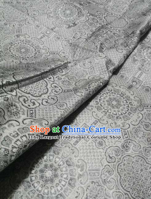 Asian Chinese Classical Pattern Design Argent Brocade Fabric Traditional Tang Suit Satin Drapery Silk Material