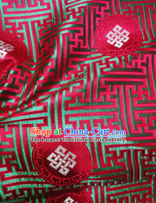 Asian Chinese Classical Lucky Knots Pattern Design Purplish Red Brocade Fabric Traditional Tang Suit Satin Drapery Silk Material