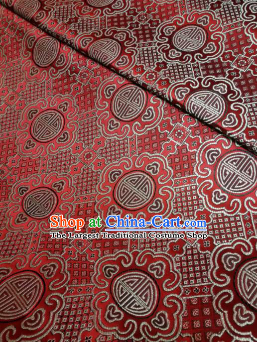 Asian Chinese Royal Pattern Design Red Brocade Fabric Traditional Tang Suit Satin Classical Drapery Silk Material