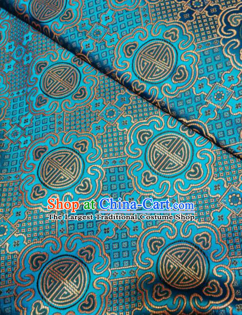 Asian Chinese Royal Pattern Design Blue Brocade Fabric Traditional Tang Suit Satin Classical Drapery Silk Material