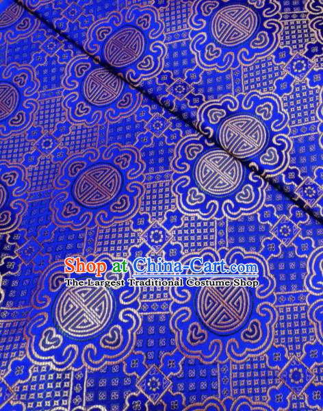 Asian Chinese Royal Pattern Design Royalblue Brocade Fabric Traditional Tang Suit Satin Classical Drapery Silk Material