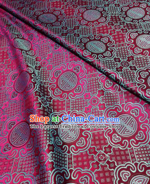Asian Chinese Royal Pattern Design Rosy Brocade Fabric Traditional Tang Suit Satin Classical Drapery Silk Material