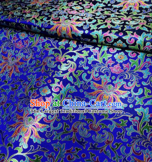 Asian Chinese Royal Colorful Chrysanthemum Pattern Design Royalblue Brocade Fabric Traditional Tang Suit Satin Classical Drapery Silk Material