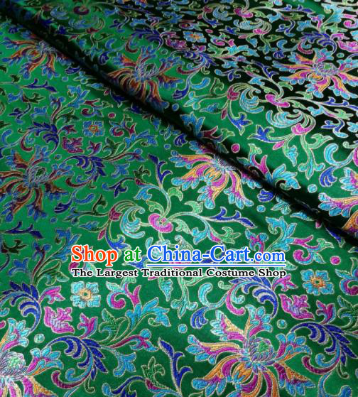 Asian Chinese Royal Colorful Chrysanthemum Pattern Design Green Brocade Fabric Traditional Tang Suit Satin Classical Drapery Silk Material