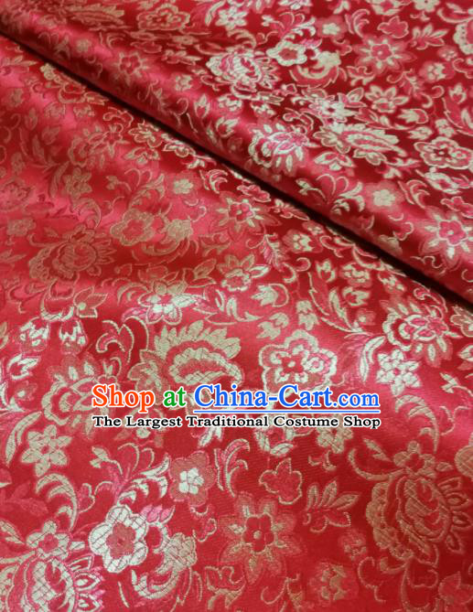 Asian Chinese Royal Flowers Pattern Design Red Brocade Fabric Traditional Tang Suit Satin Classical Drapery Silk Material