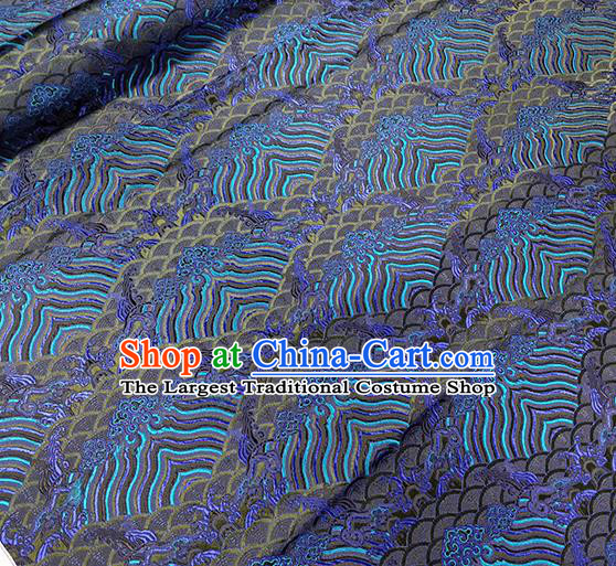 Traditional Chinese Classical Waves Pattern Design Fabric Royalblue Brocade Tang Suit Satin Drapery Asian Silk Material