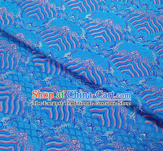 Traditional Chinese Classical Sea Waves Pattern Design Fabric Blue Brocade Tang Suit Satin Drapery Asian Silk Material