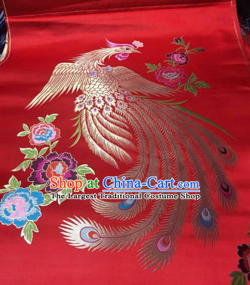Asian Chinese Wedding Red Satin Classical Phoenix Pattern Design Brocade Mongolian Robe Fabric Traditional Drapery Silk Material