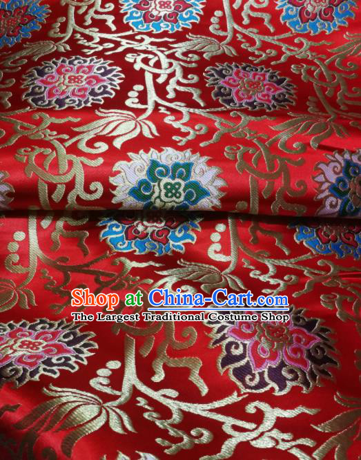 Asian Chinese Wedding Red Satin Classical Lotus Pattern Design Brocade Mongolian Robe Fabric Traditional Drapery Silk Material