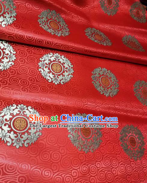 Asian Chinese Wedding Red Satin Classical Pattern Design Brocade Mongolian Robe Fabric Traditional Drapery Silk Material
