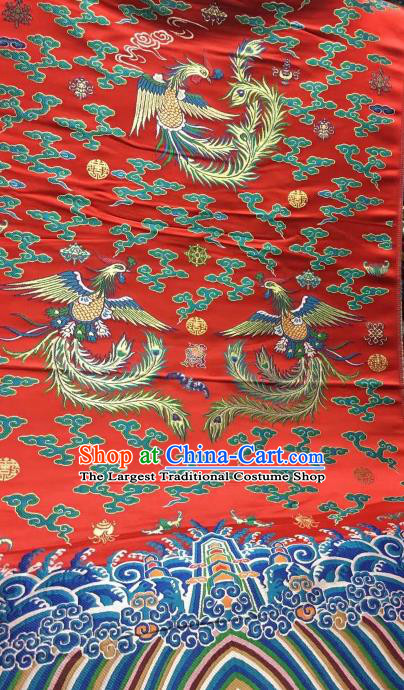 Asian Chinese Red Satin Classical Phoenix Pattern Design Brocade Wedding Dress Fabric Traditional Drapery Silk Material