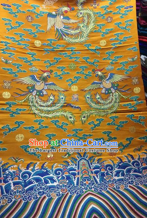 Asian Chinese Golden Satin Classical Phoenix Pattern Design Brocade Wedding Dress Fabric Traditional Drapery Silk Material