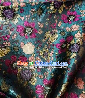 Asian Chinese Dress Peacock Green Satin Classical Flowers Pattern Design Brocade Fabric Traditional Drapery Silk Material