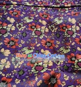 Asian Chinese Dress Purple Satin Classical Flowers Pattern Design Brocade Fabric Traditional Drapery Silk Material