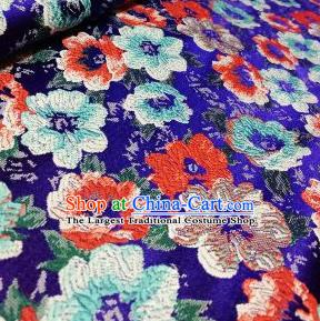 Asian Chinese Dress Royalblue Satin Classical Flowers Pattern Design Brocade Fabric Traditional Drapery Silk Material