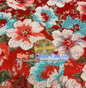 Asian Chinese Dress Red Satin Classical Flowers Pattern Design Brocade Fabric Traditional Drapery Silk Material