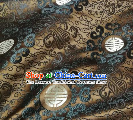 Asian Chinese Royal Pattern Design Bronze Brocade Mongolian Robe Fabric Traditional Satin Classical Drapery Silk Material