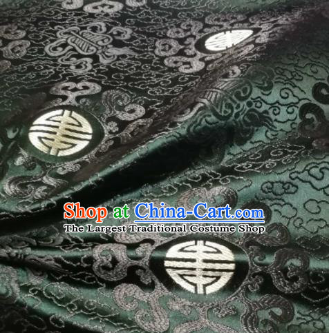 Asian Chinese Royal Pattern Design Atrovirens Brocade Mongolian Robe Fabric Traditional Satin Classical Drapery Silk Material
