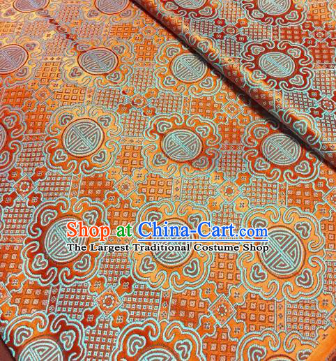 Asian Chinese Orange Satin Classical Pattern Design Brocade Mongolian Robe Fabric Traditional Drapery Silk Material