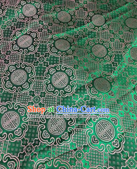 Asian Chinese Green Satin Classical Pattern Design Brocade Mongolian Robe Fabric Traditional Drapery Silk Material