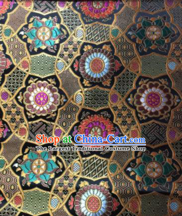 Asian Chinese Black Satin Classical Pattern Design Brocade Mongolian Robe Fabric Traditional Drapery Silk Material