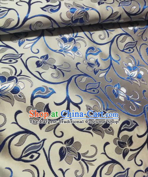 Asian Chinese White Satin Classical Timbo Flowers Pattern Design Brocade Mongolian Robe Fabric Traditional Drapery Silk Material