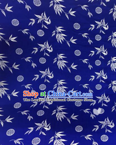 Asian Chinese Dress Royalblue Satin Classical Leaf Pattern Design Brocade Fabric Traditional Drapery Silk Material