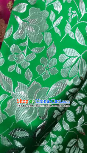 Asian Chinese Cheongsam Green Satin Classical Flowers Pattern Design Brocade Fabric Traditional Drapery Silk Material
