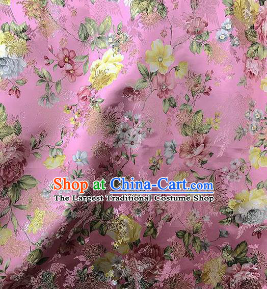 Asian Chinese Cheongsam Pink Satin Classical Chrysanthemum Pattern Design Brocade Fabric Traditional Drapery Silk Material